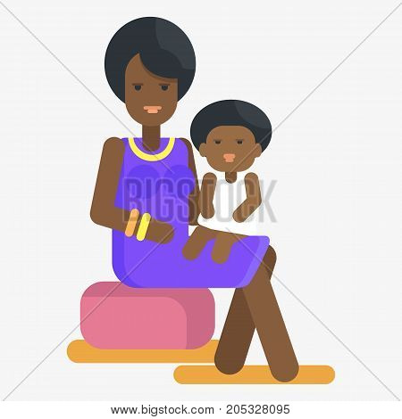 Afro-american woman holds child on knees vector illustration in flat style design. Motherhood concept, black female and her adorable toddler