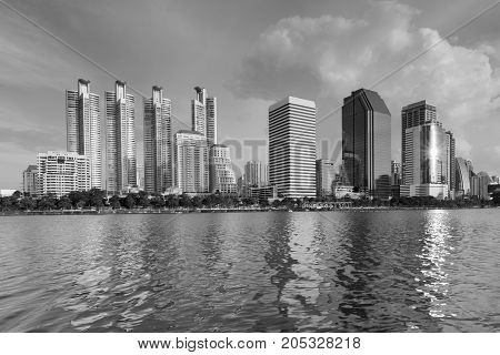 Black and White Central business downtown office building water front