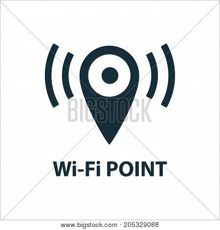 Wi-fi Point Location Icon On White Background