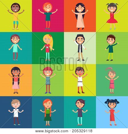 Active children isolated on colorful backgrounds. Celebrating international children s day vector poster in flat design.