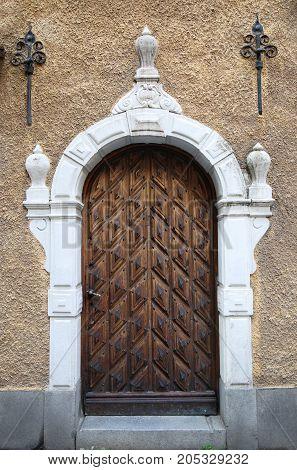 Vintage door in old town Gamla Stan Stockholm Sweden