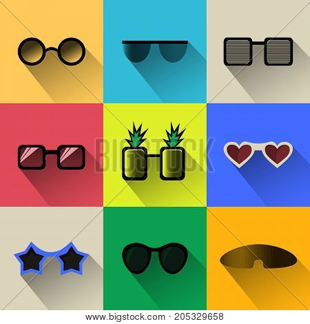 Set of different shapes sun glasses simple icons with long shadows. Modern flat design sun glasses in stylish colors. Web site page and mobile app design element. Vector illustration