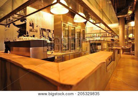 the interior industrial loft style bar decoration