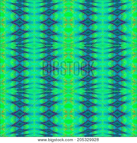 Abstract geometric seamless background. Regular diamond pattern blue, green, turquoise and purple, vertically.