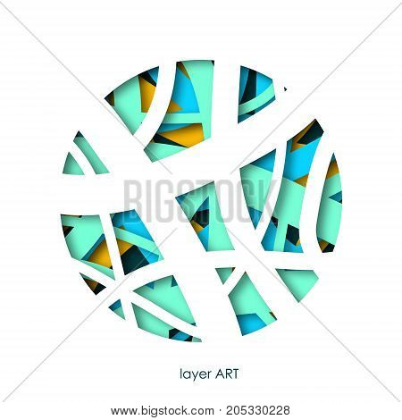 Paper art cut in a circle layers. Colorful background. Paper art cut out style for presentations flyers posters and banners.