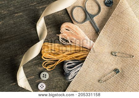 Accessories For Hobbies: Tape, Scissors, Needle And Pin. Flat Lay Composition