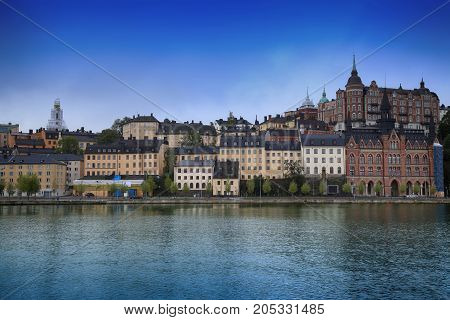 Beautiful view of Sodermalm district in Stockholm Sweden