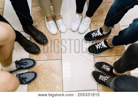 Participants of the conference took a photo of their legs during a half-time.