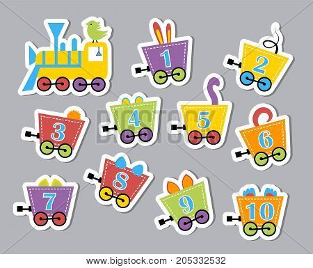 Bright colorful numbers. Developmental stickers for children. Vector illustration of caravans with beasts in a flat style.