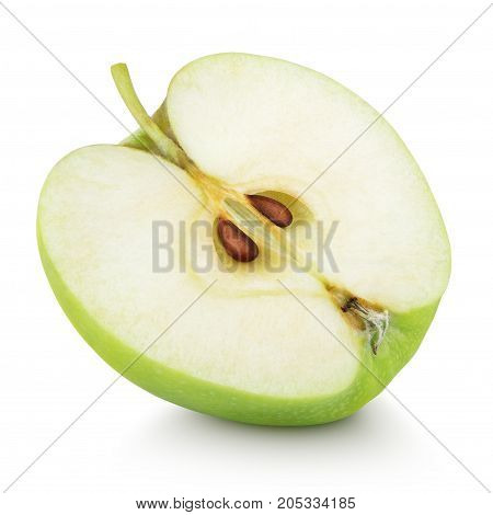Ripe green apple half fruit isolated on white background. Half of green apple fruit with clipping path