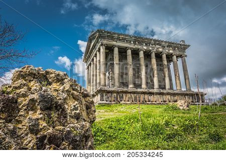 The Garni Temple a fine example of ancient Greek and Roman architecture, located in Kotayk Province, Armenia. Taken on a summer day.