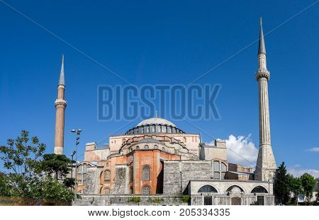 View of Hagia Sophia, Christian patriarchal basilica, imperial mosque and now a museum Istanbul, Turkey on clear day with blue sky