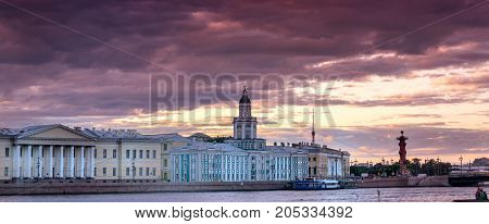 Stormy day in St. Petersburg along the Neva River at sunset
