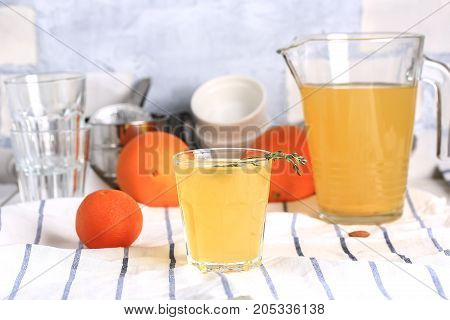Homemade orange ginger lemonade cocktail cold detox