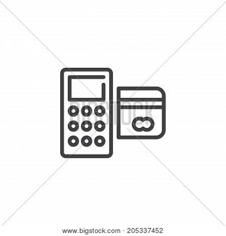 Card reader machine line icon, outline vector sign, linear style pictogram isolated on white. POS terminal symbol, logo illustration. Editable stroke