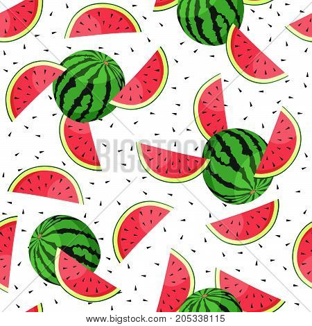 Vector Seamless pattern with watermelon slices. Vector illustration.