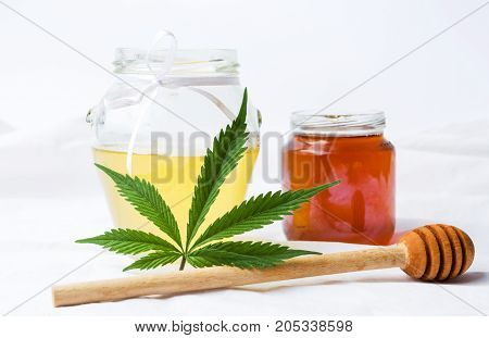 Marijuana Leaf And Sweet Honey Jar