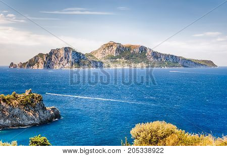 Scenic Aerial View With The Island Of Capri, Italy