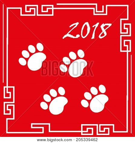 Happy chinese new year 2018 greeting card with traces of dog paws. China new year template for your design. Vector illustration