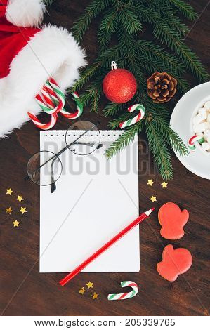 Christmas Composition On Dark Background With Candy