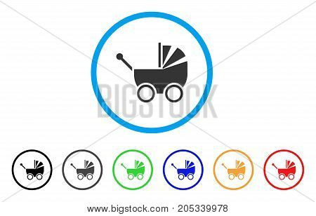 Baby Carriage rounded icon. Style is a flat baby carriage grey symbol inside light blue circle with black, gray, green, blue, red, orange variants. Vector designed for web and software interfaces.