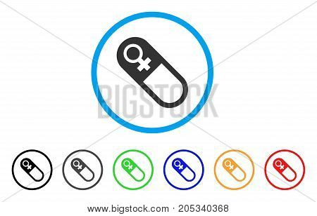Female Pill rounded icon. Style is a flat female pill grey symbol inside light blue circle with black, gray, green, blue, red, orange versions. Vector designed for web and software interfaces.