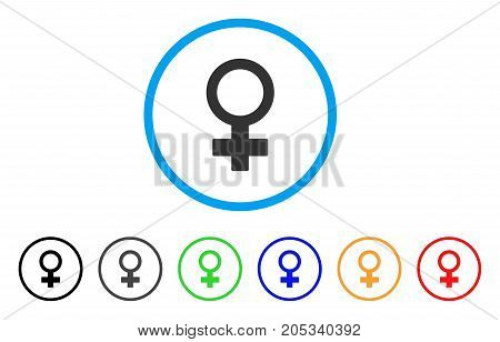 Female Symbol rounded icon. Style is a flat female symbol grey symbol inside light blue circle with black, gray, green, blue, red, orange color versions.