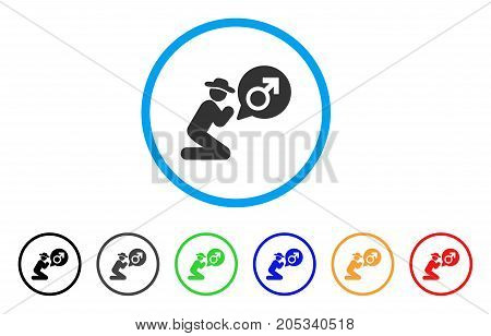 Gentleman Pray For Potence rounded icon. Style is a flat gentleman pray for potence gray symbol inside light blue circle with black, gray, green, blue, red, orange variants.