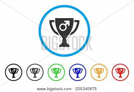 Male Power Award Cup rounded icon. Style is a flat male power award cup grey symbol inside light blue circle with black, gray, green, blue, red, orange variants.