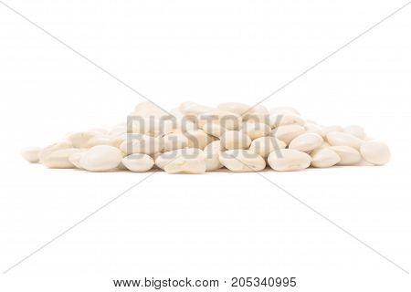 White beans slide on white background isolation