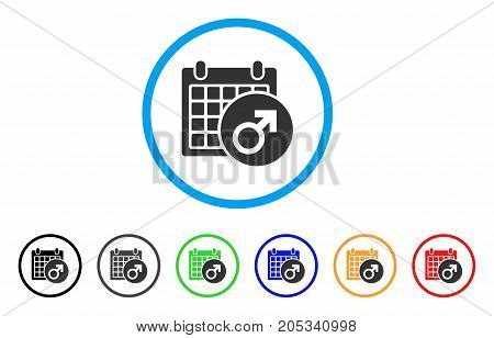 Male Symbol Calendar rounded icon. Style is a flat male symbol calendar grey symbol inside light blue circle with black, gray, green, blue, red, orange versions.