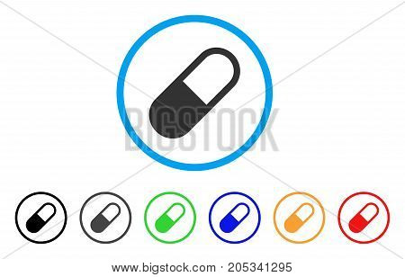 Medication Granule rounded icon. Style is a flat medication granule gray symbol inside light blue circle with black, gray, green, blue, red, orange color versions.