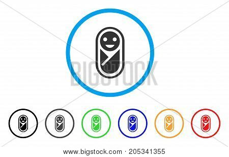 Newborn rounded icon. Style is a flat newborn grey symbol inside light blue circle with black, gray, green, blue, red, orange variants. Vector designed for web and software interfaces.