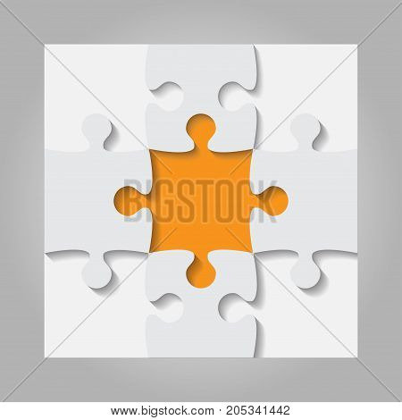 4 Grey and 1 Orange Puzzles Pieces Arranged in a Square - JigSaw - Vector Illustration. Blank Template or Cutting Guidelines. Vector Background and Web Design.