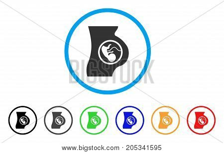 Pregnancy rounded icon. Style is a flat pregnancy grey symbol inside light blue circle with black, gray, green, blue, red, orange versions. Vector designed for web and software interfaces.