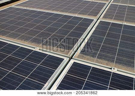 Dirty Dusty Photovoltaic Solar Panels Required Cleaning