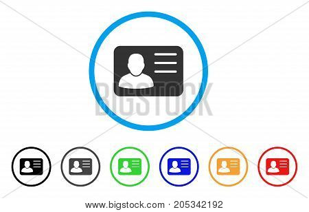Account Card rounded icon. Style is a flat account card grey symbol inside light blue circle with black, gray, green, blue, red, orange variants. Vector designed for web and software interfaces.