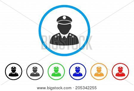 Army General rounded icon. Style is a flat army general gray symbol inside light blue circle with black, gray, green, blue, red, orange versions. Vector designed for web and software interfaces.