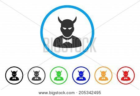 Devil rounded icon. Style is a flat devil gray symbol inside light blue circle with black, gray, green, blue, red, orange color versions. Vector designed for web and software interfaces.