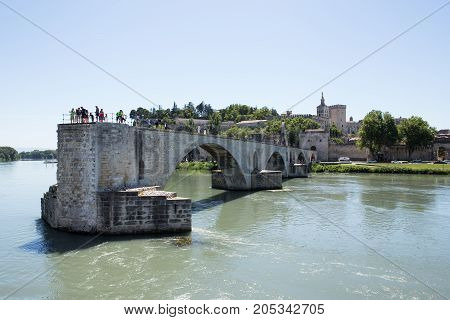 The famous unfinished Bridge, Avignon on the Rhone