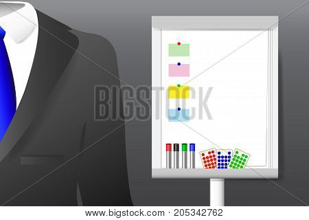 Concept of men`s suit with shirt and tie standing next to the empty flipchart with moderation equipment is ready for your text.