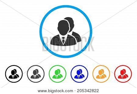 Managers rounded icon. Style is a flat managers grey symbol inside light blue circle with black, gray, green, blue, red, orange versions. Vector designed for web and software interfaces.