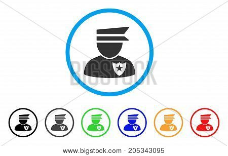 Policeman rounded icon. Style is a flat policeman grey symbol inside light blue circle with black, gray, green, blue, red, orange versions. Vector designed for web and software interfaces.