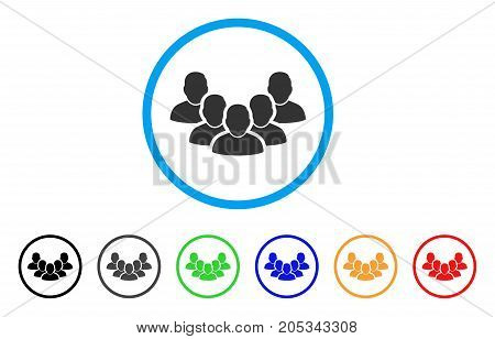Staff rounded icon. Style is a flat staff gray symbol inside light blue circle with black, gray, green, blue, red, orange color versions. Vector designed for web and software interfaces.