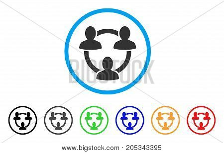Trust Circle rounded icon. Style is a flat trust circle grey symbol inside light blue circle with black, gray, green, blue, red, orange versions. Vector designed for web and software interfaces.