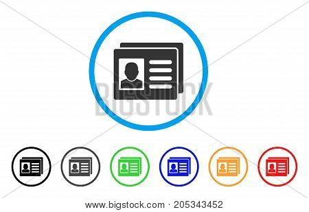 User Account Cards rounded icon. Style is a flat user account cards grey symbol inside light blue circle with black, gray, green, blue, red, orange variants.