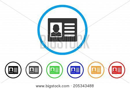 User Account rounded icon. Style is a flat user account gray symbol inside light blue circle with black, gray, green, blue, red, orange color versions. Vector designed for web and software interfaces.