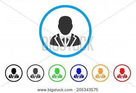 Valet rounded icon. Style is a flat valet grey symbol inside light blue circle with black, gray, green, blue, red, orange variants. Vector designed for web and software interfaces.