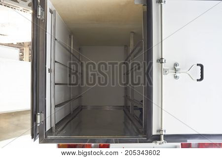 Empty cargo area of the light commercial truck