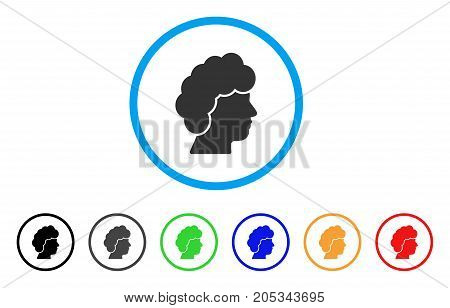 Woman Profile rounded icon. Style is a flat woman profile grey symbol inside light blue circle with black, gray, green, blue, red, orange variants. Vector designed for web and software interfaces.